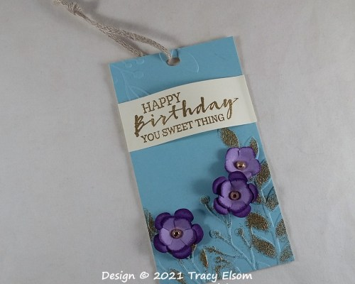 Purple Bloom Birthday Gift Tag