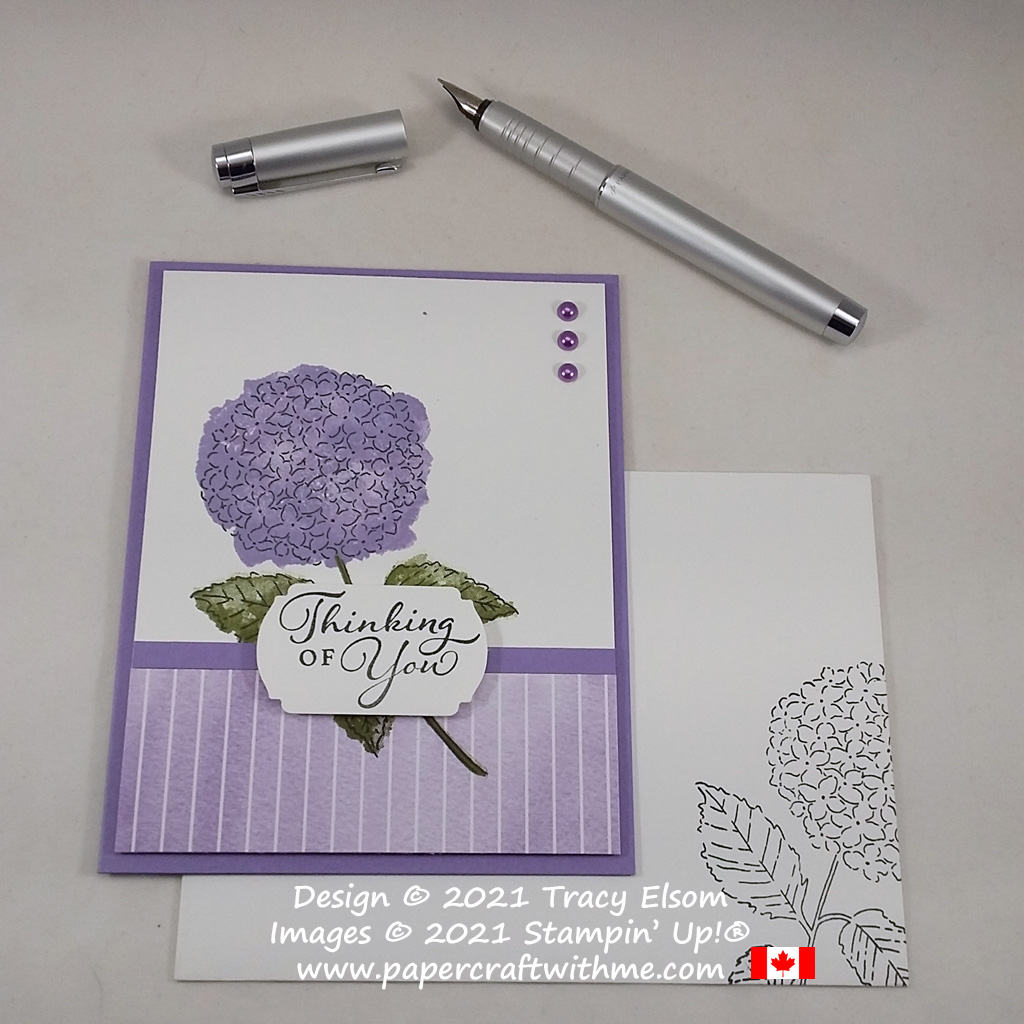 """""""Thinking of you"""" card created using the Hydrangea Haven Stamp Set and Hydrangea Hill Designer Series Paper from Stampin' Up! #simplestamping #papercraftwithme"""