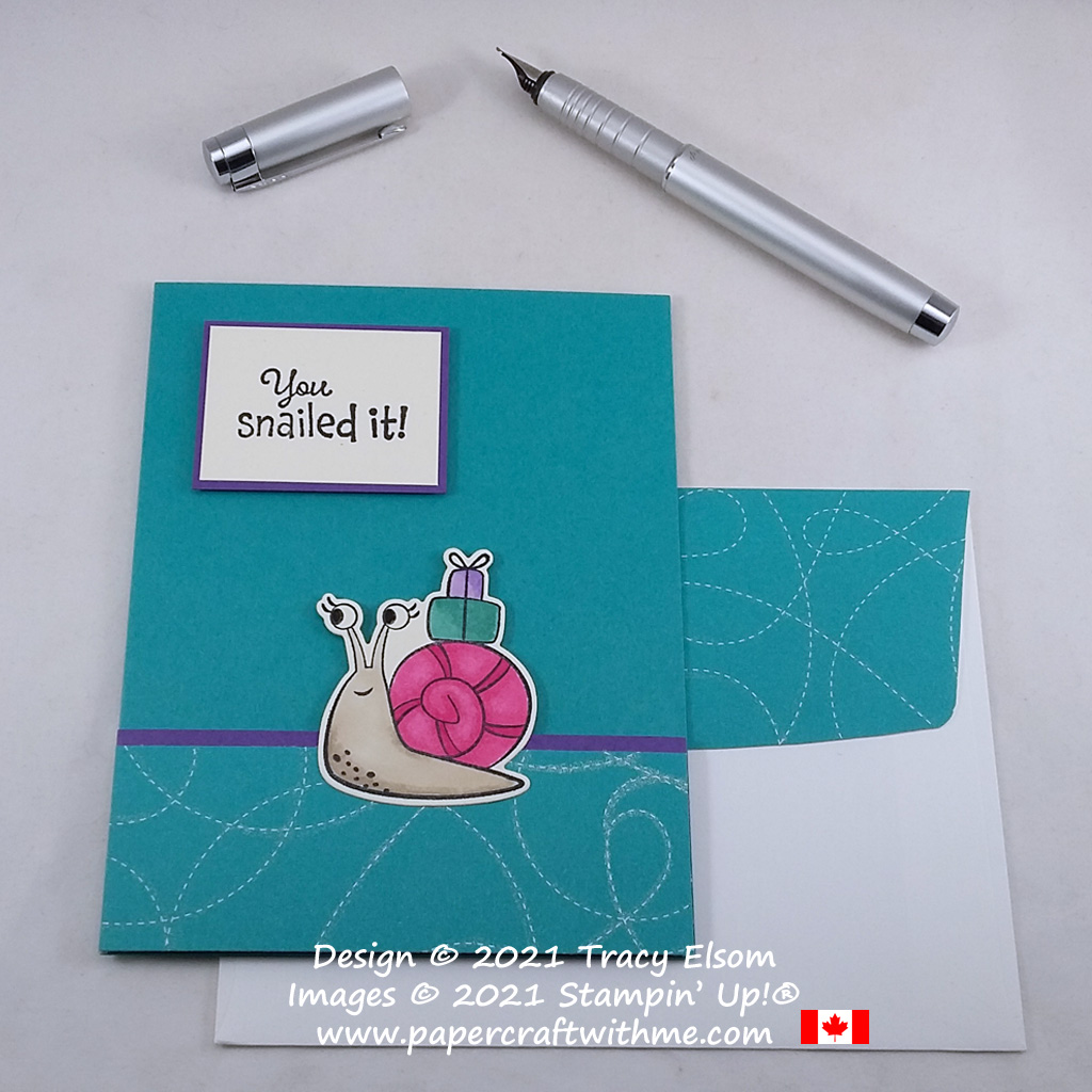 """""""You snailed it"""" card created using the Snailed It Stamp Set and coordinating Snail Dies from Stampin' Up! #papercraftwithme"""