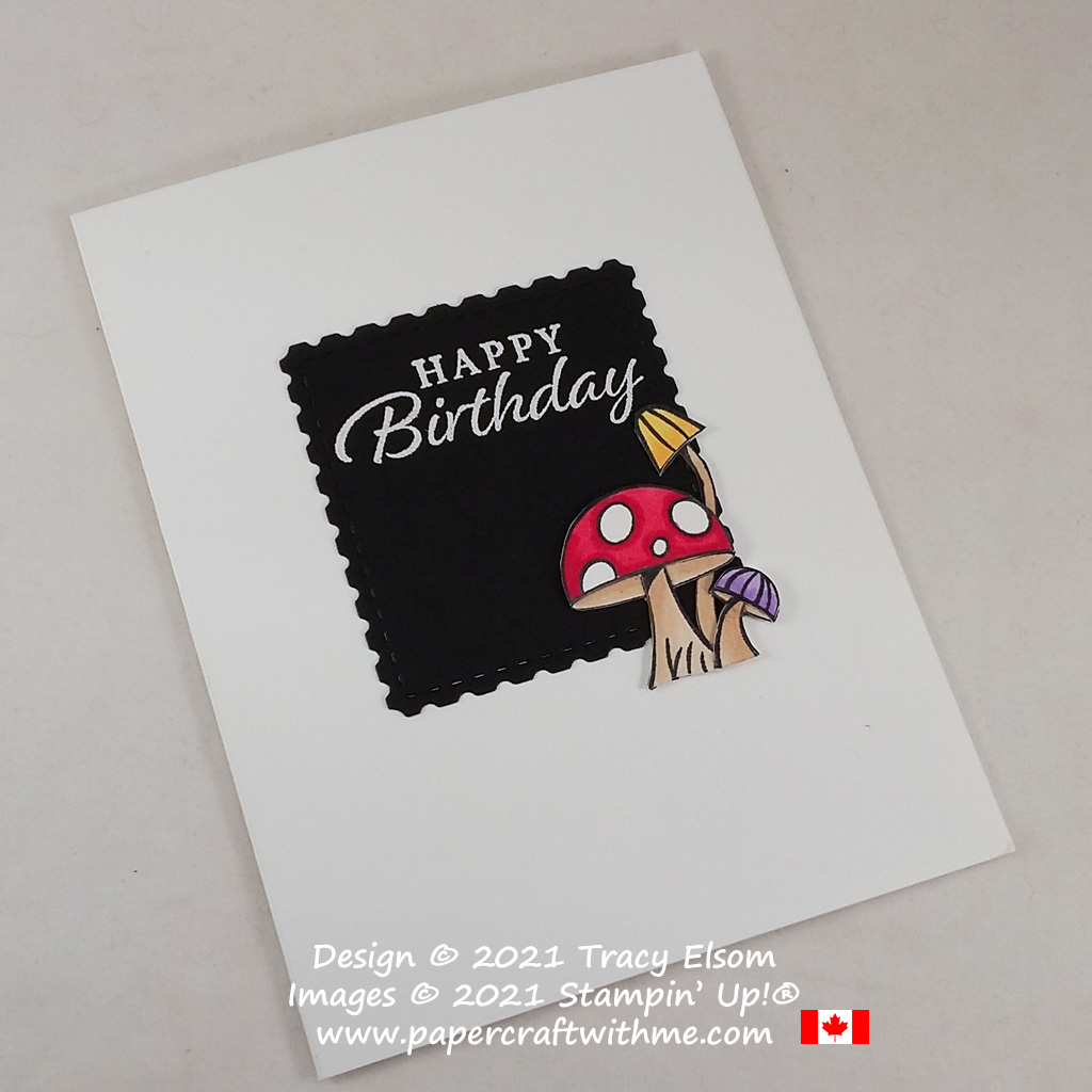 Birthday card with bright stacked toadstool image created using the Happy Thoughts and Snailed It Stamp Sets and Snail Dies, all from Stampin' Up! #papercraftwithme