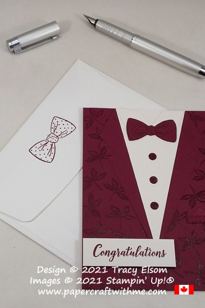 Congratulations card with tuxedo, dress shirt and bow tie created using the Suit & Tie Dies from Stampin' Up! #papercraftwithme