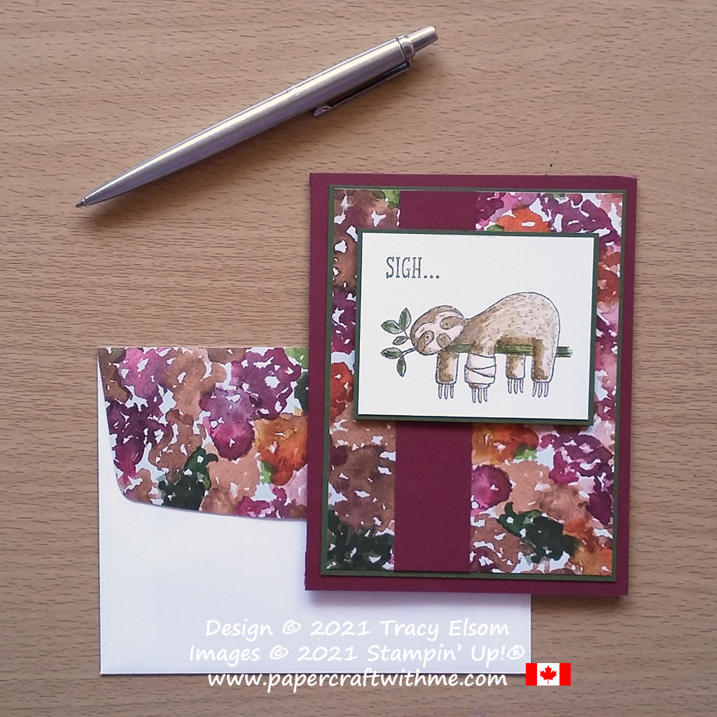 """Sloth """"sigh"""" card created using the Back on Your Feet Stamp Set and Beauty Of The Earth DSP paper from Stampin' Up! #papercraftwithme.com"""