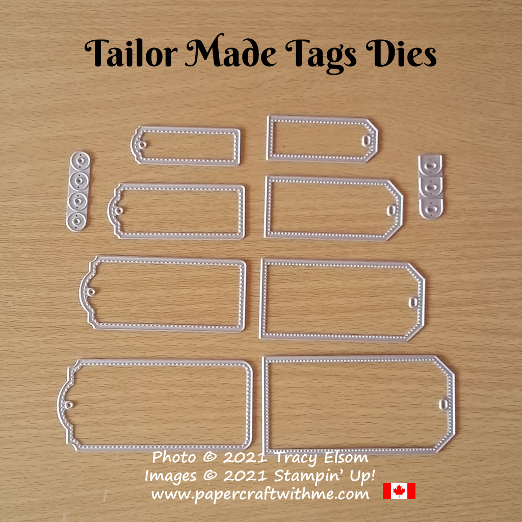 Get eight different sized tags (4 each of 2 styles) plus two styles of hole reinforcements with the new Tailor Made Tags Dies from Stampin' Up! #papercraftwithme