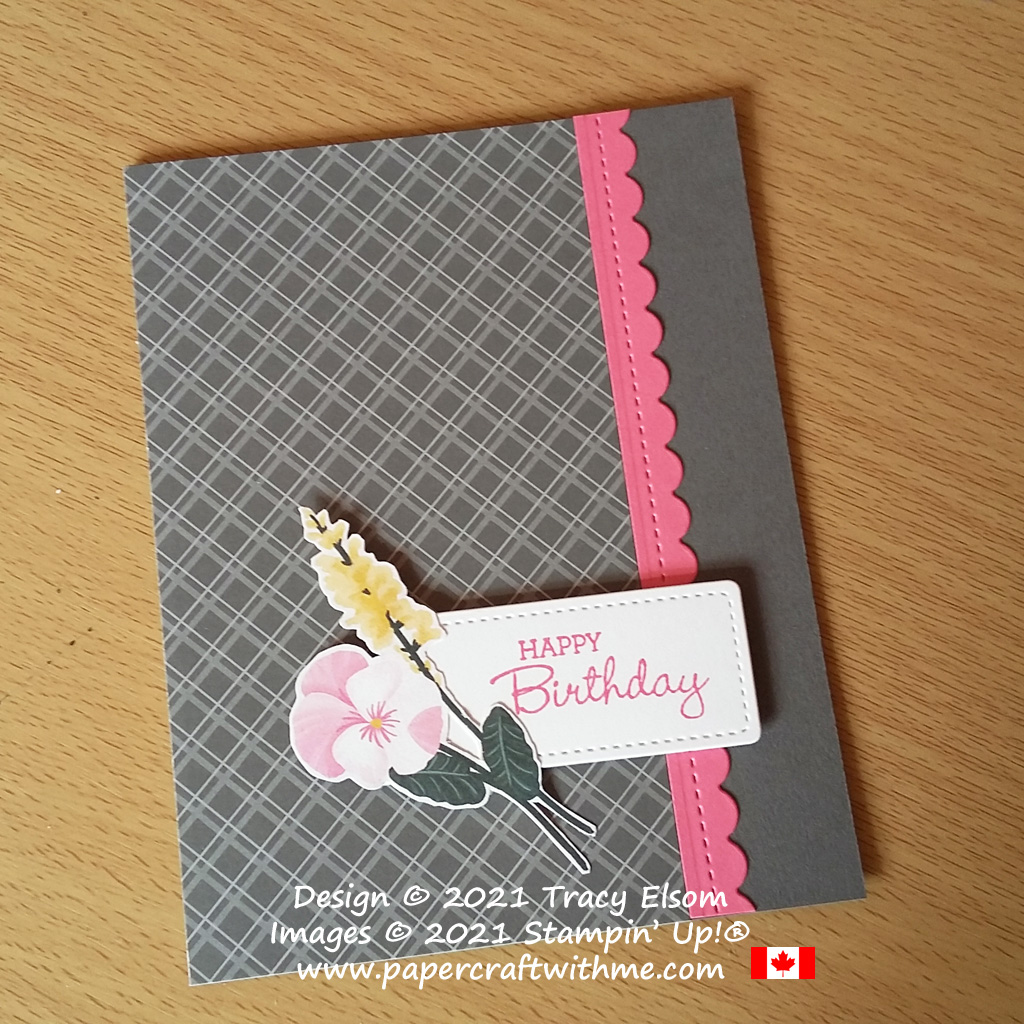 Pink and grey birthday card created using the Pansy Patch Stamp Set and Pansy Petals DSP paper from Stampin' Up! #papercraftwithme