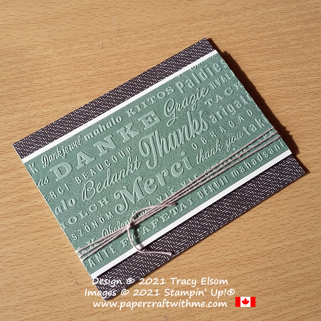 """Gender neutral card featuring an embossed sentiment layer with """"thanks"""" in English, French, German and many other languages. Created using the Thanks & Hello Embossing Folders from Stampin' Up! #papercraftwithme"""