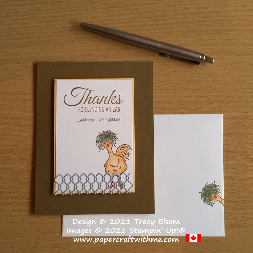 Fun thank you card created using the Hey Chick and Lighthearted Lines Stamp Sets from Stampin' Up! #papercraftwithme