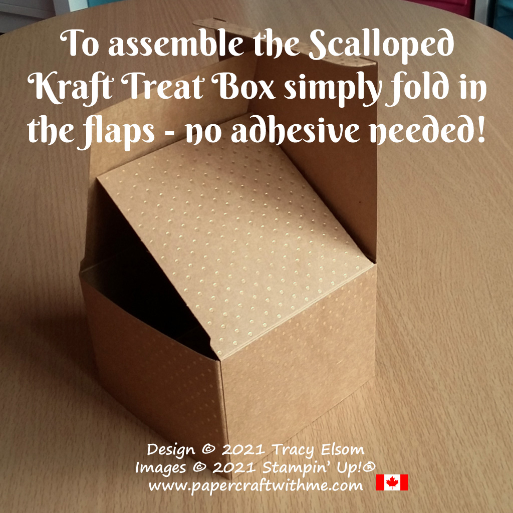 To assemble the Scalloped Kraft Treat Box simply fold in the flaps - no adhesive needed! #papercraftwithme