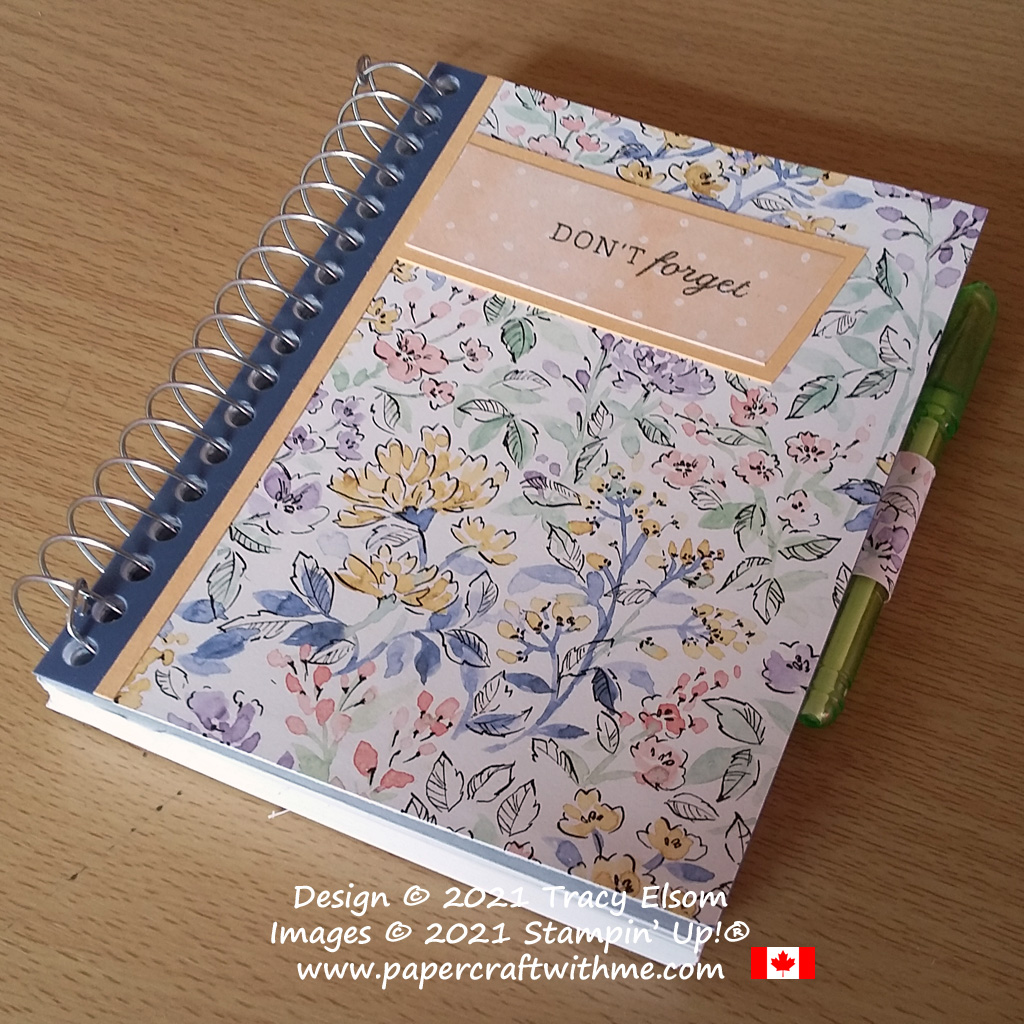 Pretty floral notebook decorated using the Days To Remember Stamp Set and Hand-Penned DSP paper from Stampin' Up! #papercraftwithme