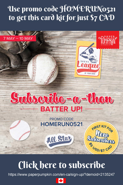 The May 2021 Paper Pumpkin kit contains everything you need to make 9 baseball themed greetings cards with coordinating envelopes for the All Stars in your life.  Subscribe by May 10th to get this unique kit (supplies may be limited towards the end of the subscription period)