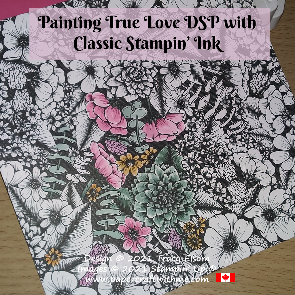From black and white to soft colours - I painted this sheet from the True Love Designer Series Paper pack with Classic Stampin' Inks, all from Stampin' Up! #papercraftwithme