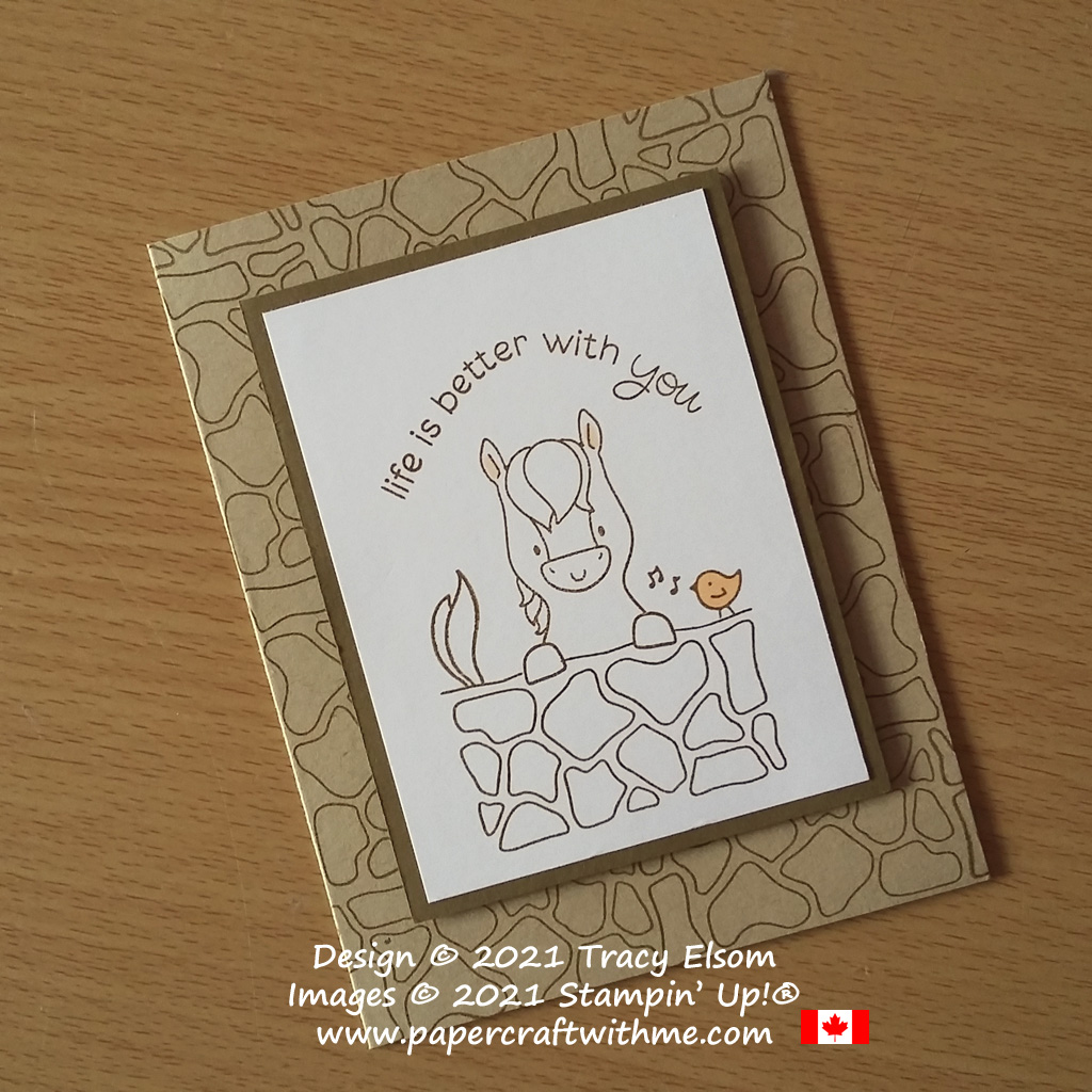 """""""Life is better with you"""" card with simple horse and bird image created using the Peekaboo Farm Stamp Set from Stampin' Up! #simplestamping #papercraftwithme"""