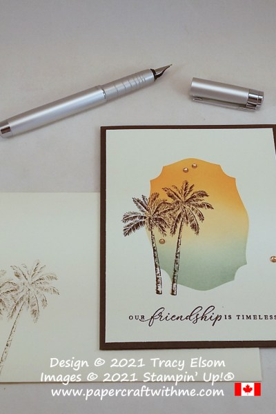 Sunset and palm trees on this simple friendship card created using the Timeless Tropical Stamp Set and Tasteful Labels Dies from Stampin' Up! #papercraftwithme
