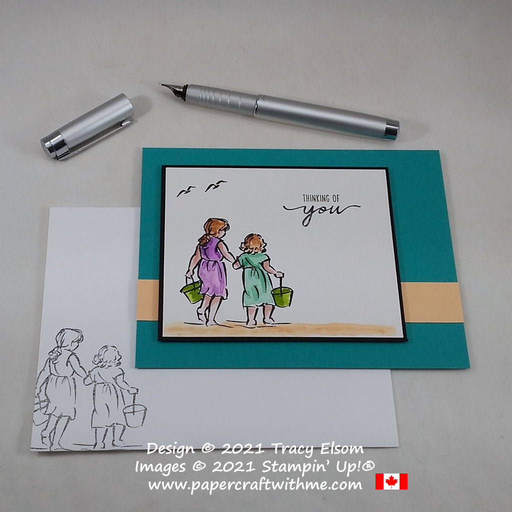"""Simple ink painted """"Thinking of you"""" card created using the Beautiful Moments Stamp Set from Stampin' Up! #papercraftwithme #simplestamping"""