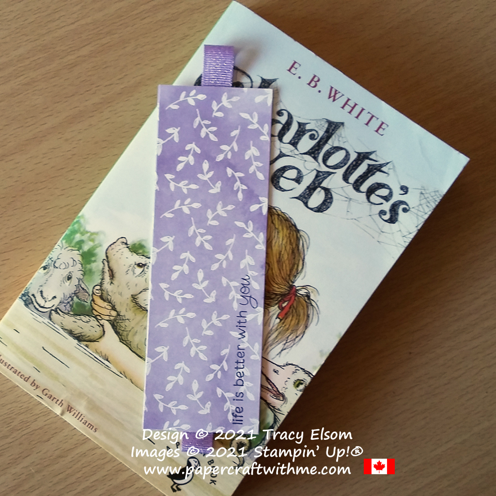Simple paper and ribbon bookmark created using the Hand-Penned DSP and Peekaboo Farm Stamp Set from Stampin' Up! (decorative floral design on other side). #simplestamping #papercraftwithme