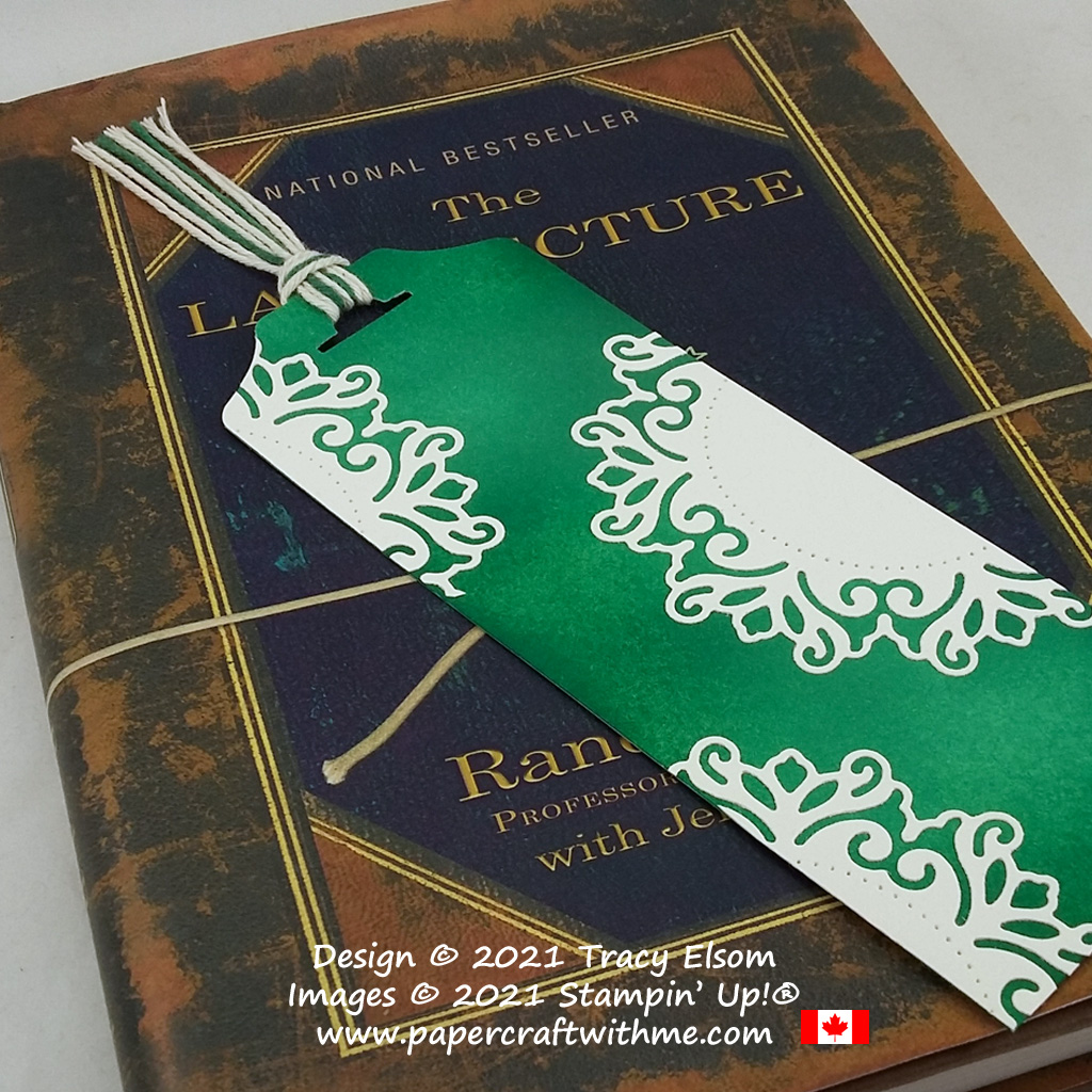 Bookmark with doily effect created using the Encircled In Beauty Dies and custom-coloured twine from Stampin' Up! #papercraftwithme