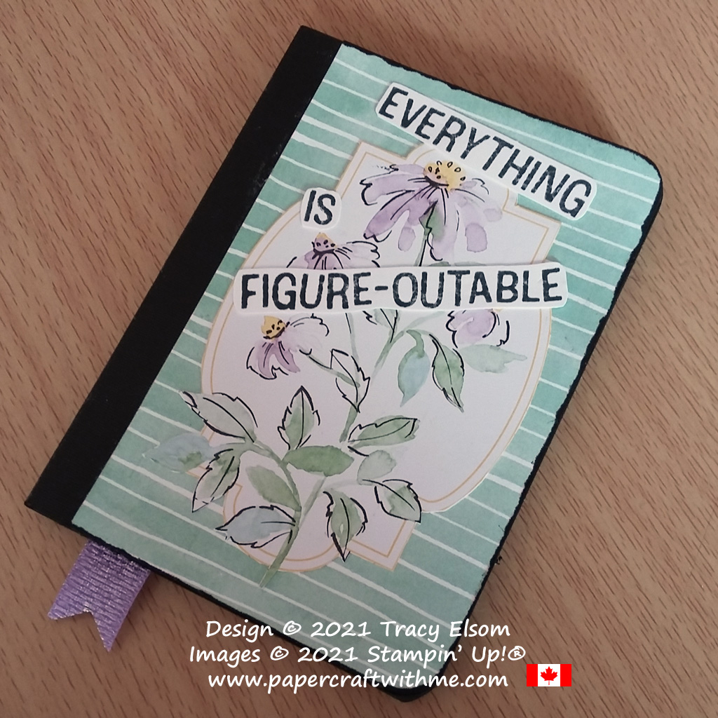 """Small notebook decorated using a pre-printed floral image together with the""""Everything is figure-outable"""" sentiment from the Lighthearted Lines Stamp Set from Stampin' Up! #papercraftwithme"""