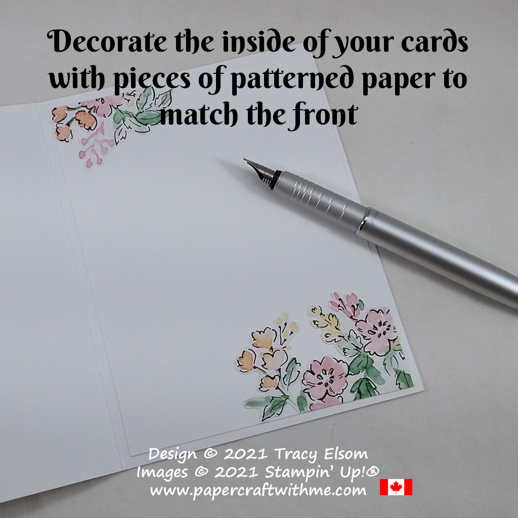 Inside of card decorated using pieces from the Hand-Penned paper from Stampin' Up! #papercraftwithme
