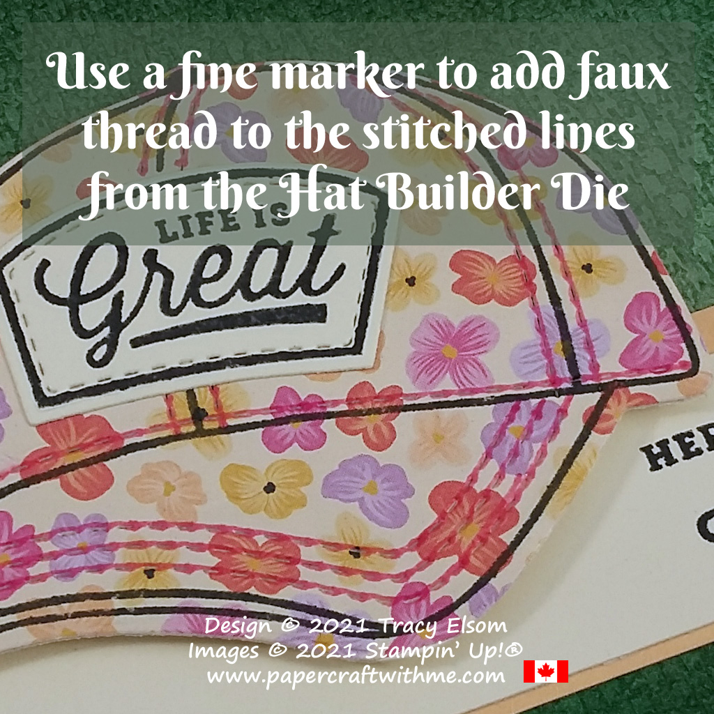 Use a fine marker to add faux thread to the stitched lines from the Hat Builder Die by Stampin' Up! #papercraftwithme