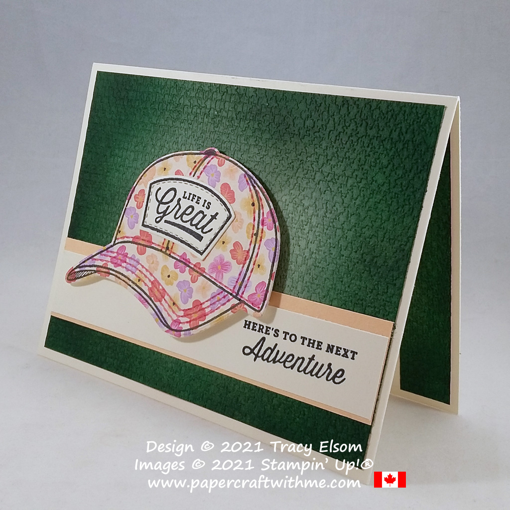 """""""Here's to the next adventure"""" card created using the Hats Off Stamp Set and coordinating Hat Builder Dies from Stampin' Up! #papercraftwithme"""
