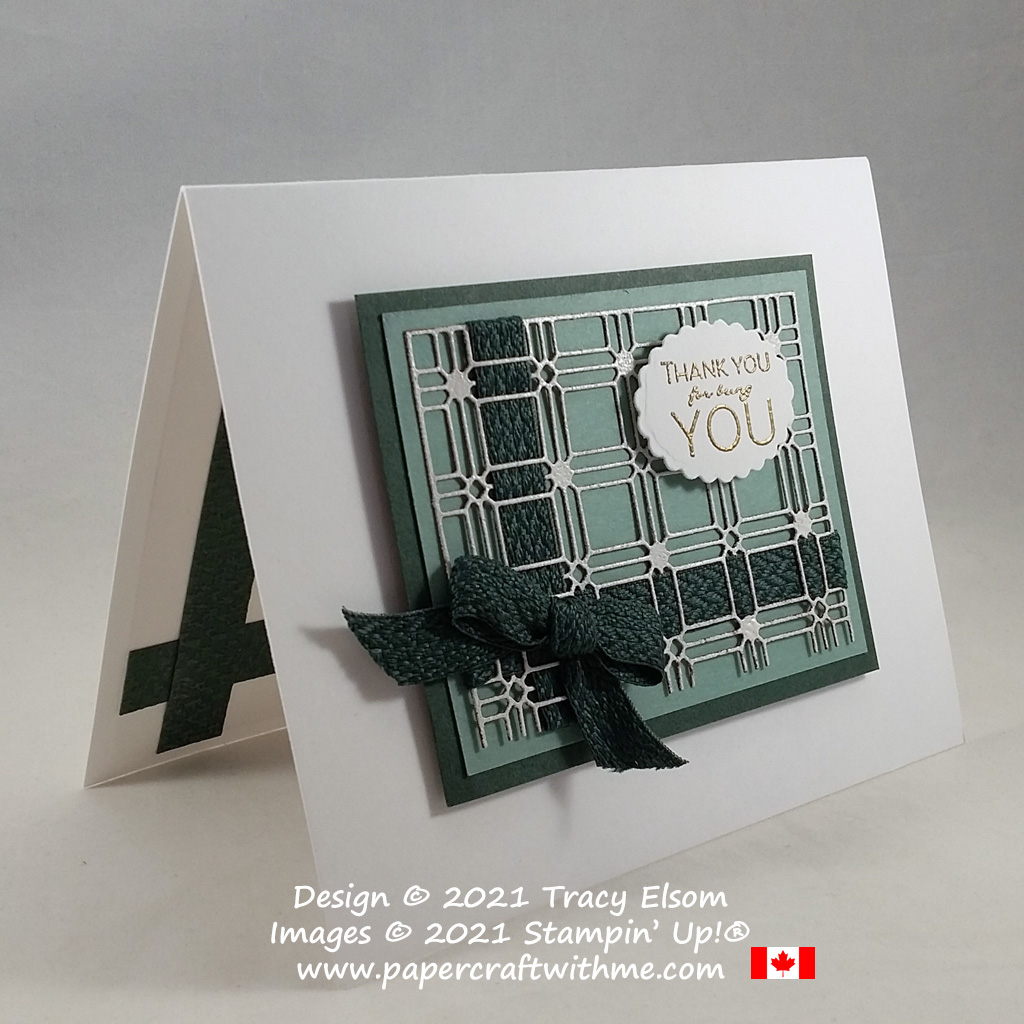 """Paper Lattice """"thank you"""" card created using the Many Messages Stamp Set and coordinating Messages Die from Stampin' Up! #papercraftwithme"""