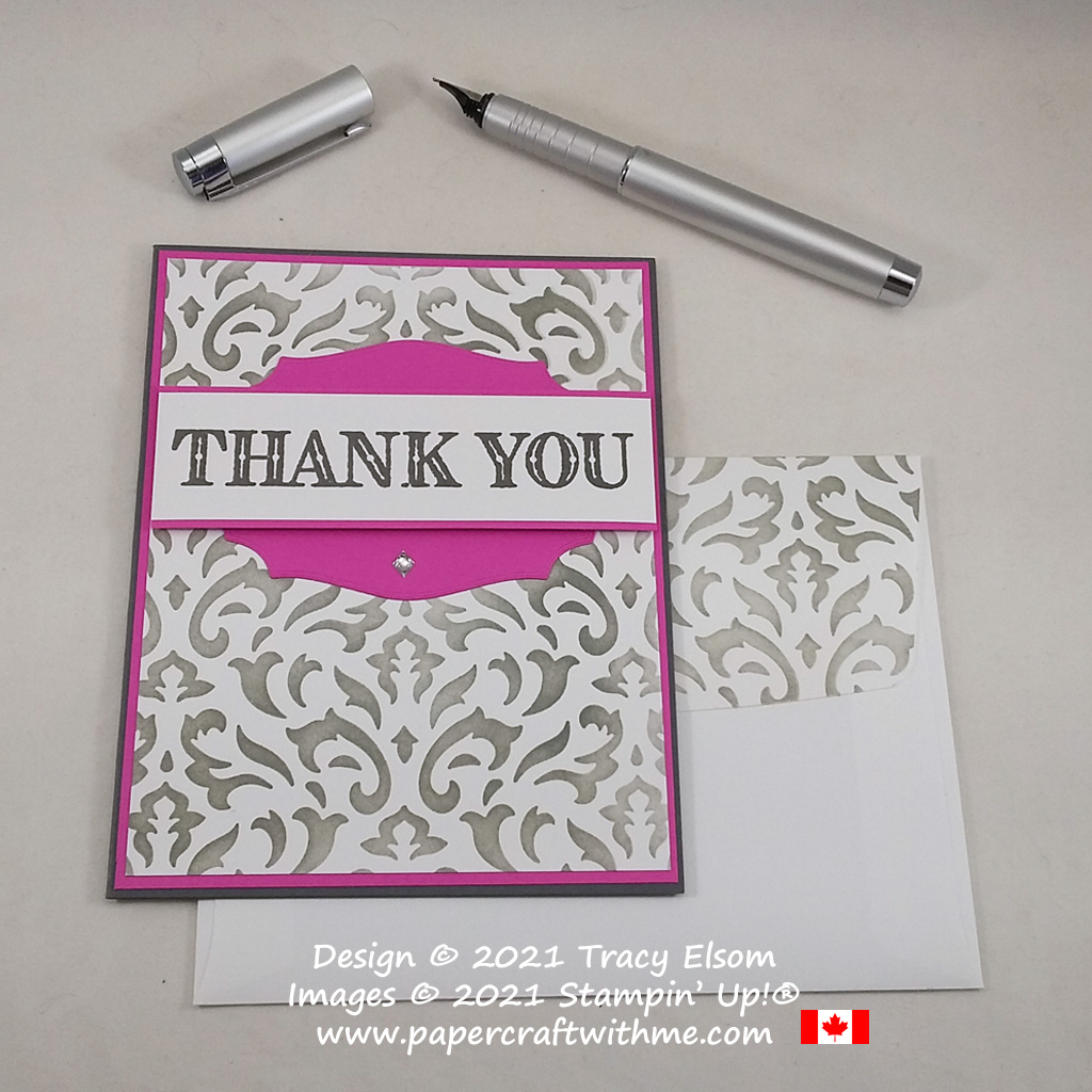 Simple stencilled background on this thank you card created using the Ornate Thanks Stamp Set and Basic Pattern Decorative Masks from Stampin' Up! #papercraftwithme