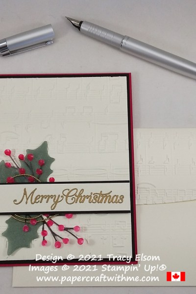 Christmas card created using the Merry Melody 3D Embossing Folder, Poinsettia Petals Stamp Set and Poinsettia Dies, all from Stampin' Up! #papercraftwithme