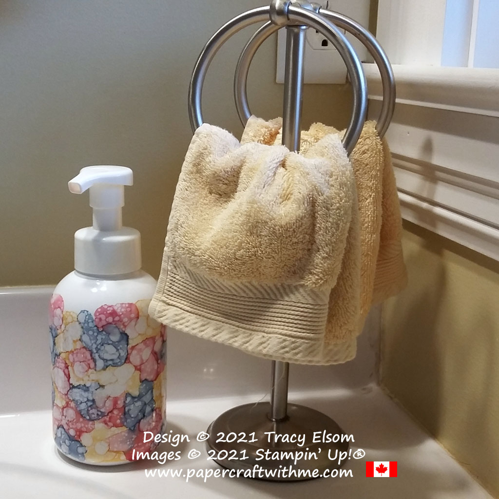 Cheap PET plastic soap dispenser decorated using Stampin' Blends alcohol markers and alcohol ink. #papercraftwithme