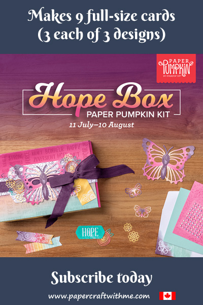 The Aug 2021 Paper Pumpkin kit contains everything you need to make 9 greetings cards (3 each of 3 designs) with coordinating envelopes.  Subscribe by August 10th to get this unique kit (supplies may be limited towards the end of the subscription period)