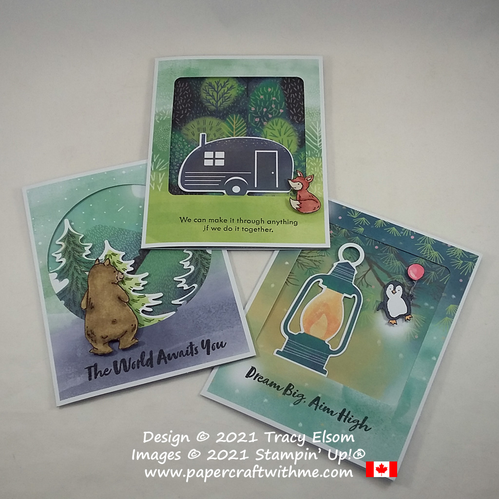 """Three alternate card designs for the July 2021 Paper Pumpkin kit """"The Adventure Awaits"""", created using the Count On Me Stamp Set from Stampin' Up! #papercraftwithme"""