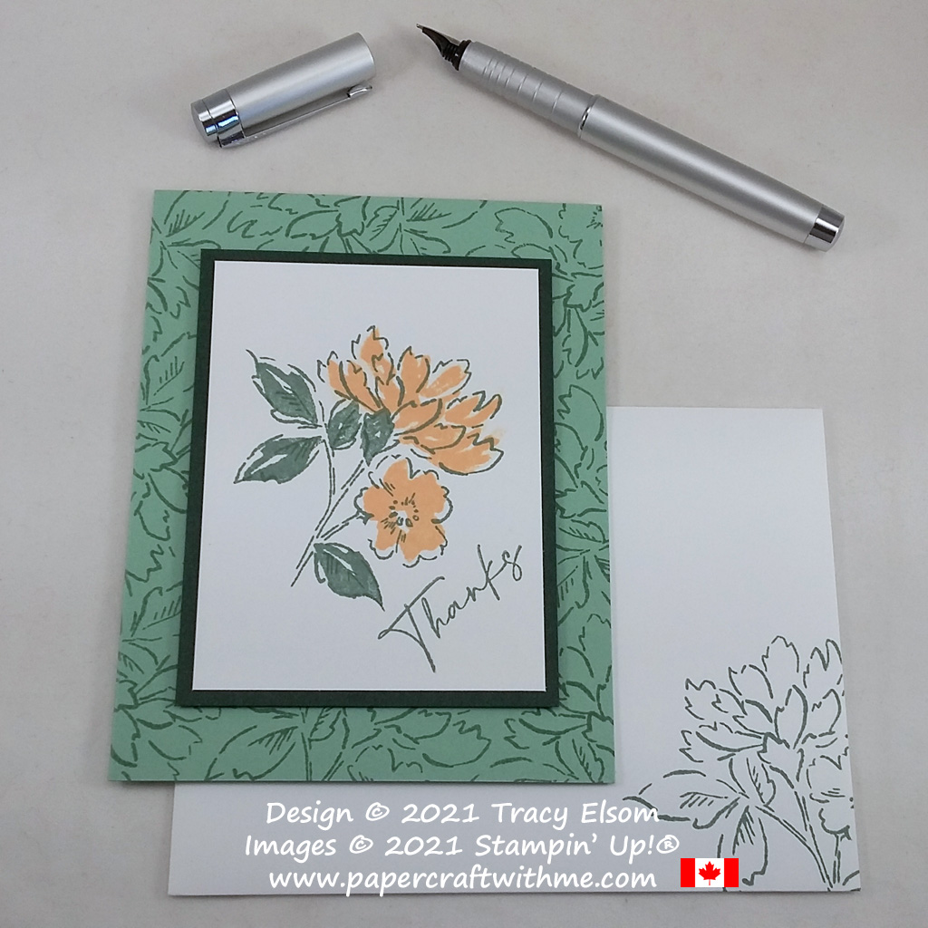 Thank you card created using the Hand-Penned Petals Stamp Set from Stampin' Up! #simplestamping #papercraftwithme