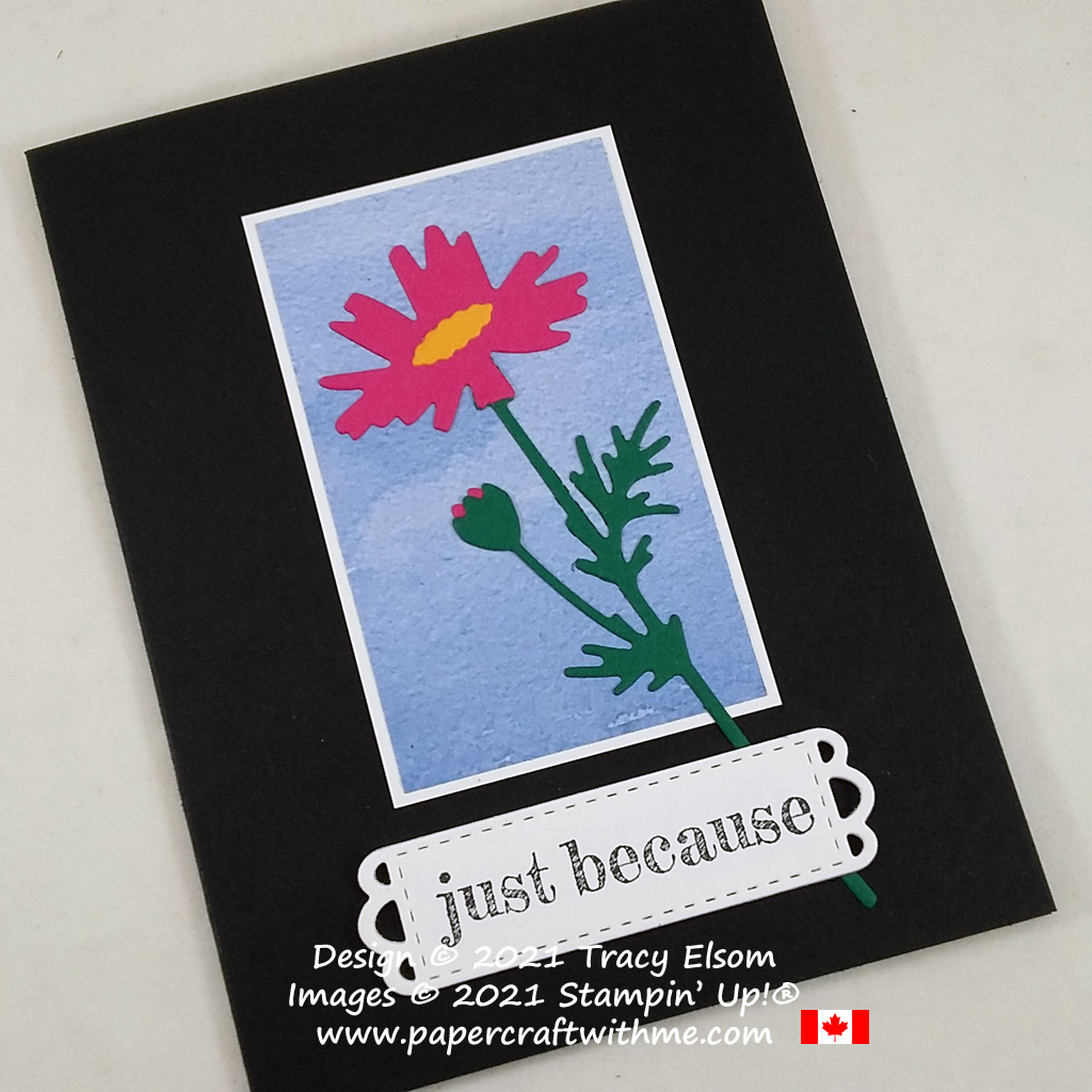 """Brighten someone's day with this """"Just because"""" card created using the Meadow Dies from Stampin' Up! #papercraftwithme"""