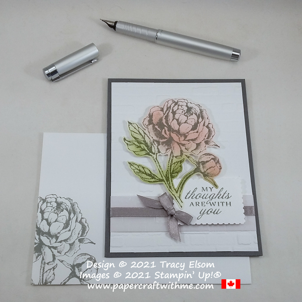 """""""My thoughts are with you"""" card created using the Prized Peony Stamp Set and coordinating Peony Dies from Stampin' Up! #papercraftwithme"""