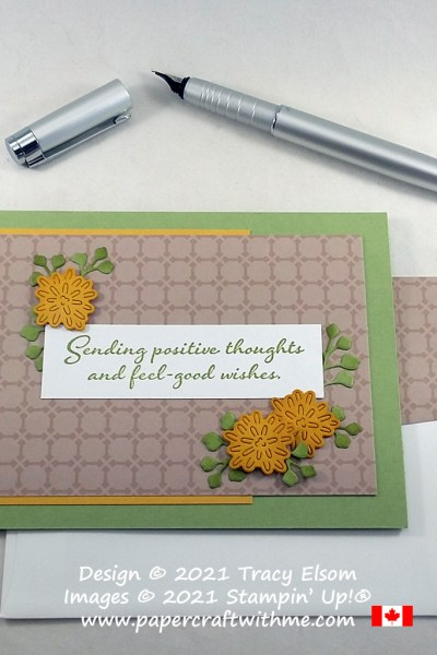 """""""Sending positive thoughts"""" with this card created using the Positive Thoughts Stamp Set and Nature's Thoughts Dies from Stampin' Up! #papercraftwithme"""