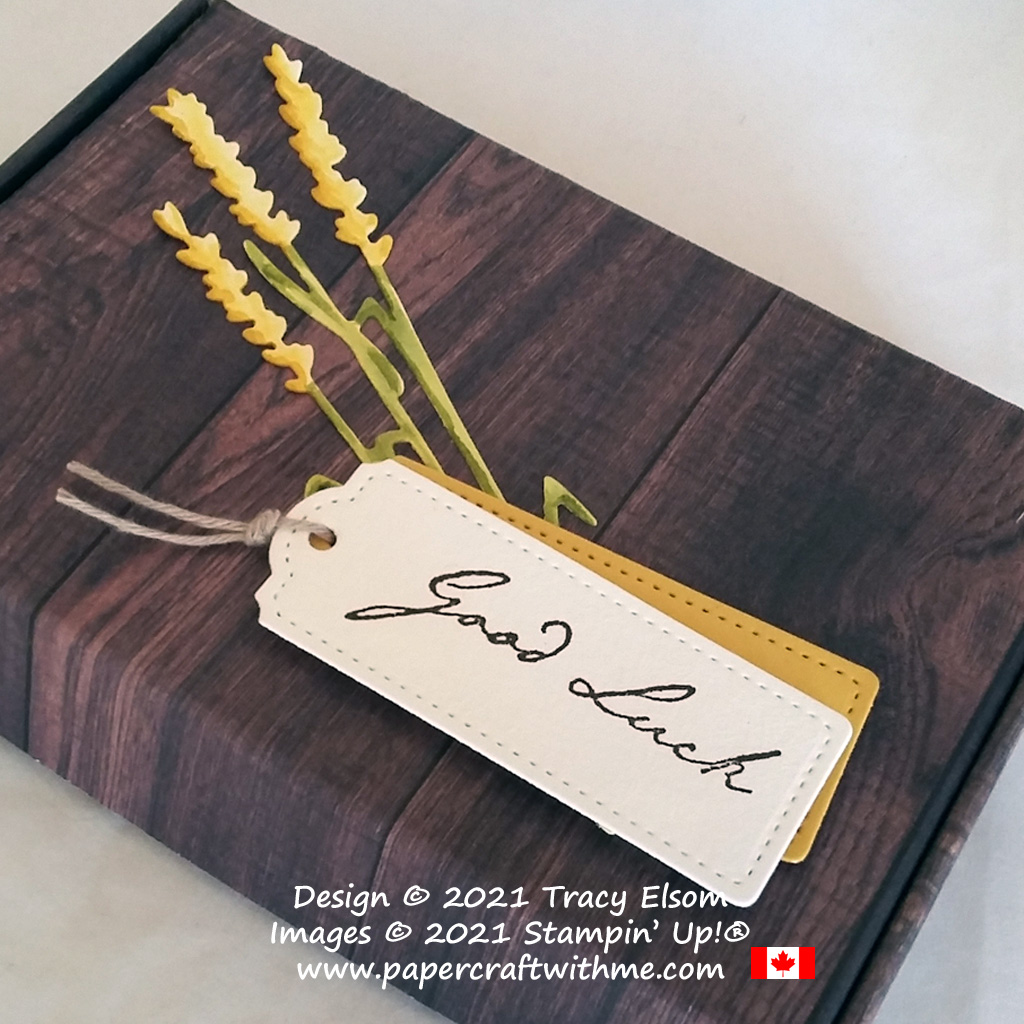 """Faux wood """"good luck"""" box created using the Nature's Harvest Stamp Set and coordinating Harvest Dies from Stampin' Up! #papercraftwithme"""