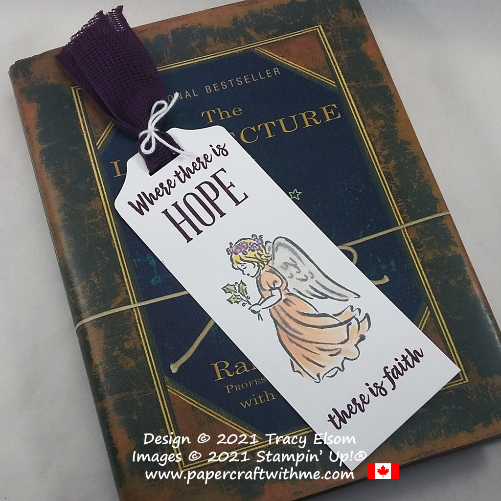 """""""Where there is hope there is faith"""" bookmark created using the Angels of Peace Stamp Set and August 2021 """"Hope Box"""" Paper Pumpkin kit. #papercraftwithme"""