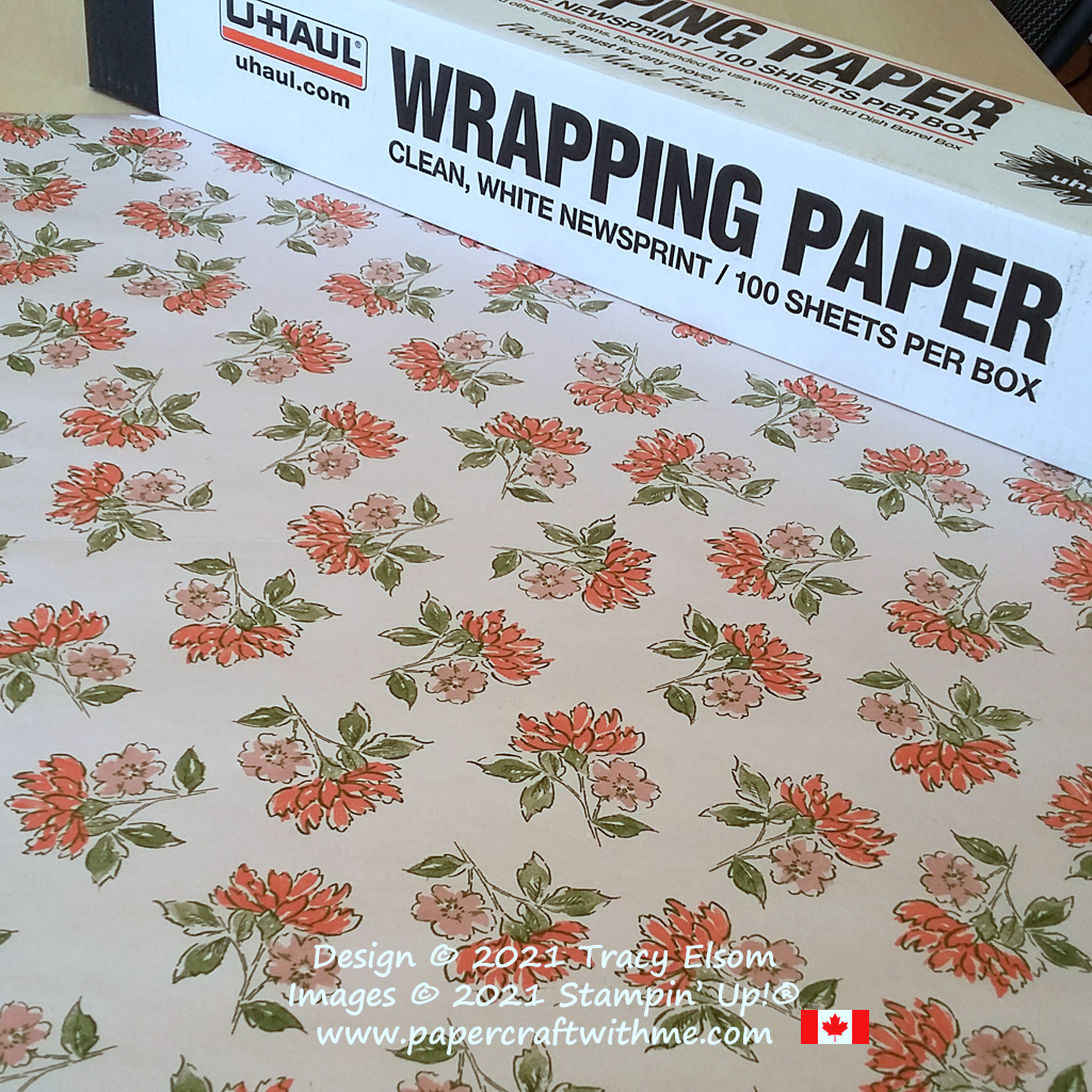 Cheap and recyclable hand-stamped gift wrap created using the Hand-Penned Petals Stamp Set from Stampin' Up! #papercraftwithme