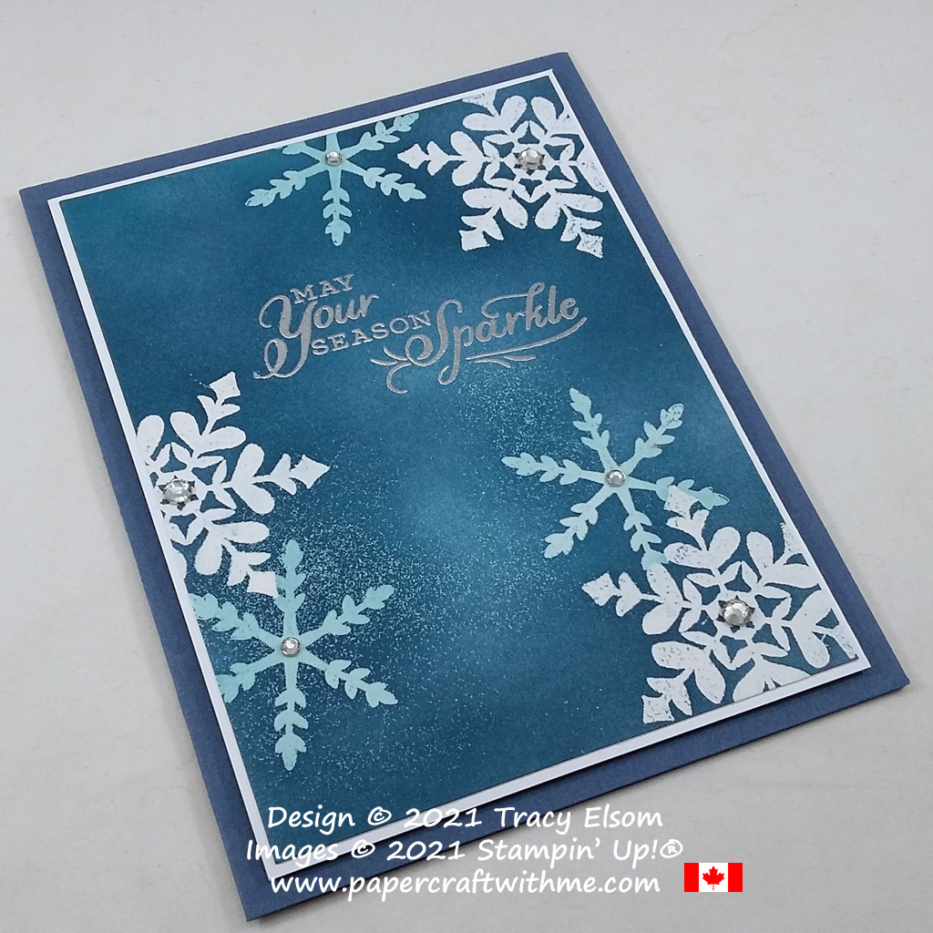 """""""May your season sparkle"""" Christmas card created using the emboss resist technique with the Snowflake Wishes Stamp Set from Stampin' Up! #papercraftwithme"""