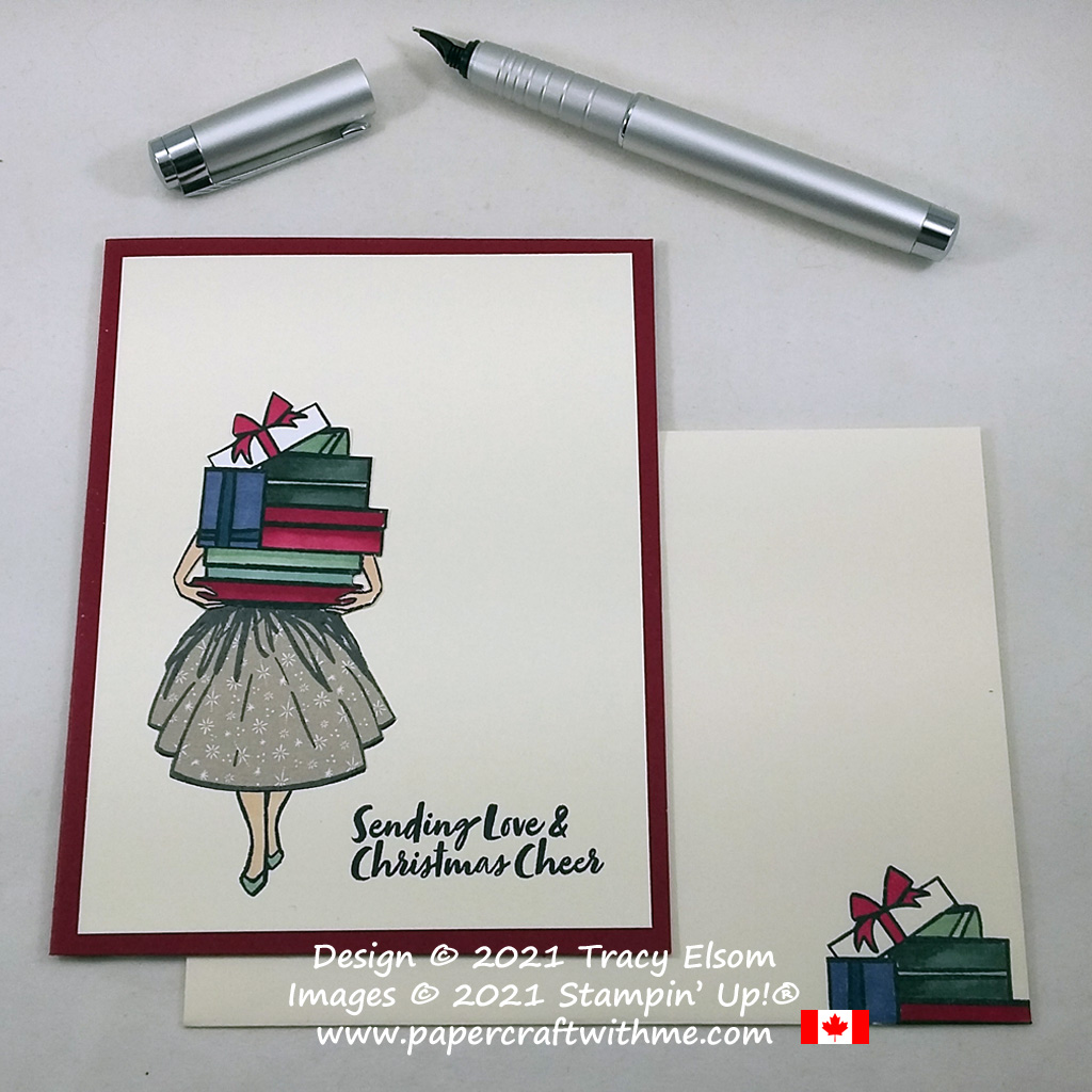 """""""Sending love & Christmas cheer"""" on this simple card created using the Delivering Cheer Stamp Set from Stampin' Up! #papercraftwithme #simplestamping"""