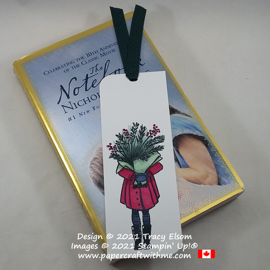 Simple bookmark with a person carrying a big bouquet. Created using the Delivering Cheer Stamp Set from Stampin' Up! #papercraftwithme