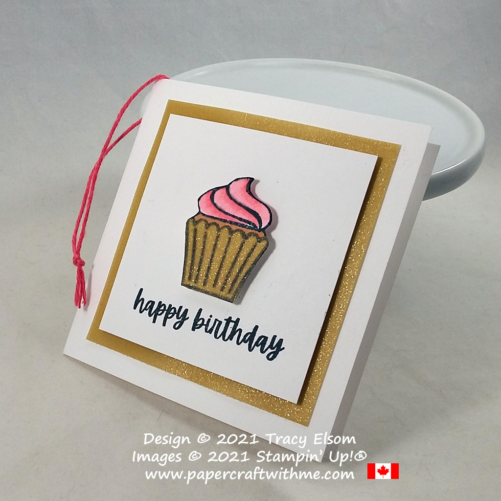 Folded 3x3 birthday gift tag with cupcake image created using the Sweets & Treats Stamp Set from Stampin' Up! #papercraftwithme #simplestamping