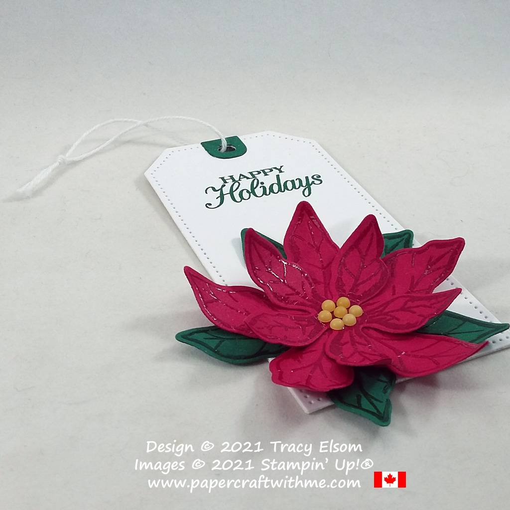 """""""Happy holidays"""" gift tag with large 3D flower created using the Poinsettia Petals Stamp Set and coordinating Poinsettia Dies from Stampin' Up! #papercraftwithme"""