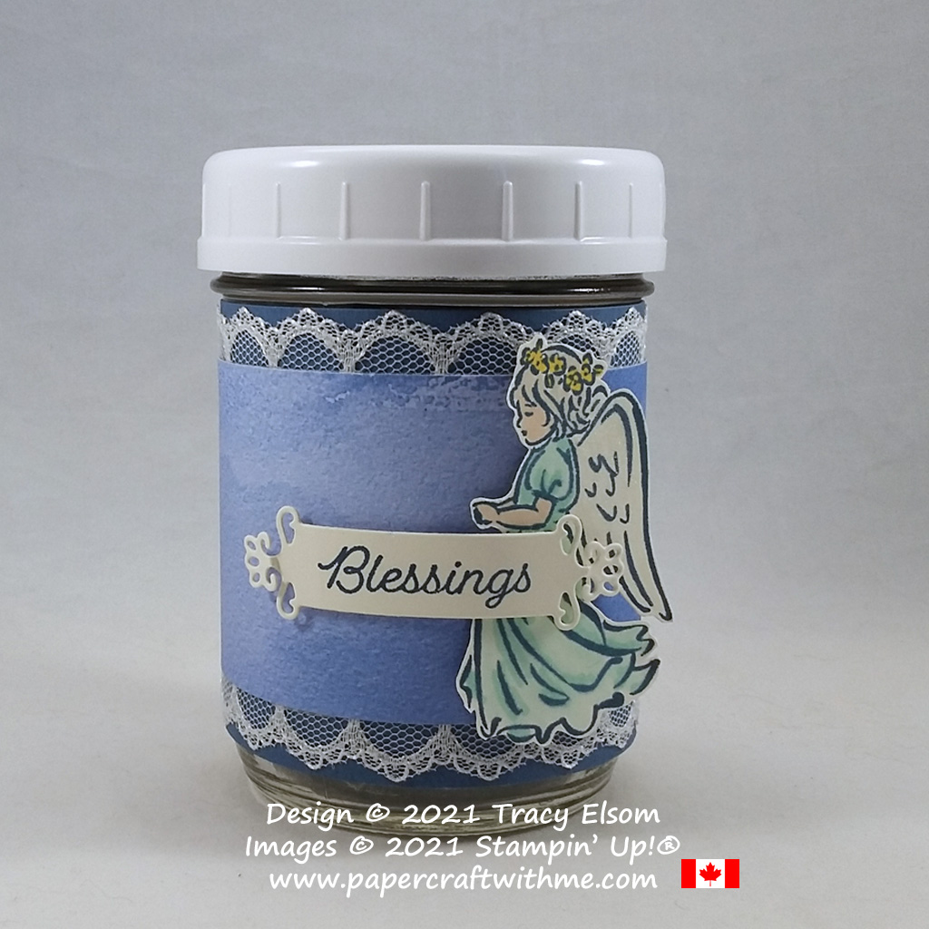 Fill this blessings jar with notes of what you are thankful for. Created using the Angels of Peace and Happy Holly-Days Stamp Sets from Stampin' Up! #papercraftwithme