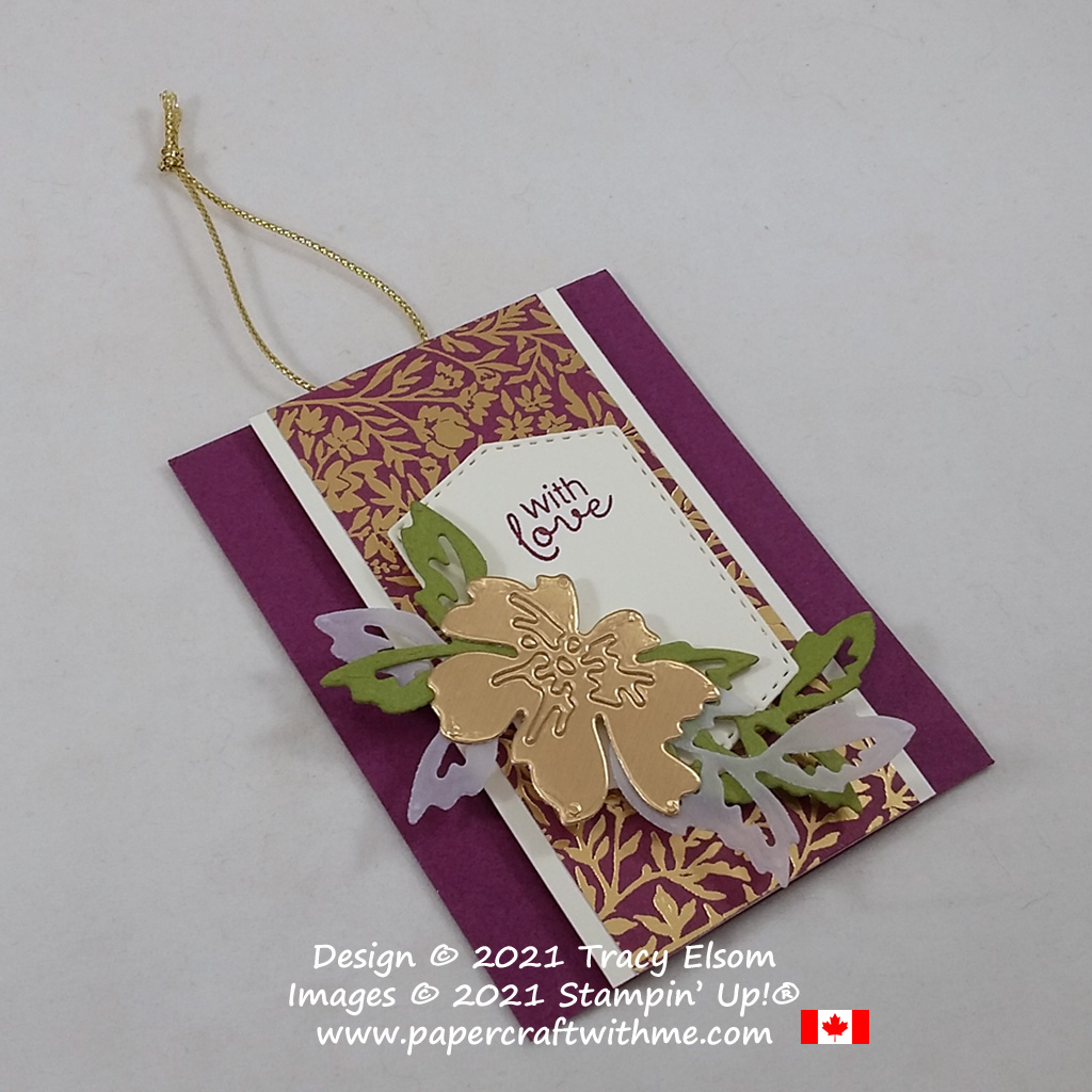 """""""With love"""" gift tag with gold foil accents created using the Hydrangea Haven Stamp Set and Penned Flowers Dies from Stampin' Up! #papercraftwithme"""