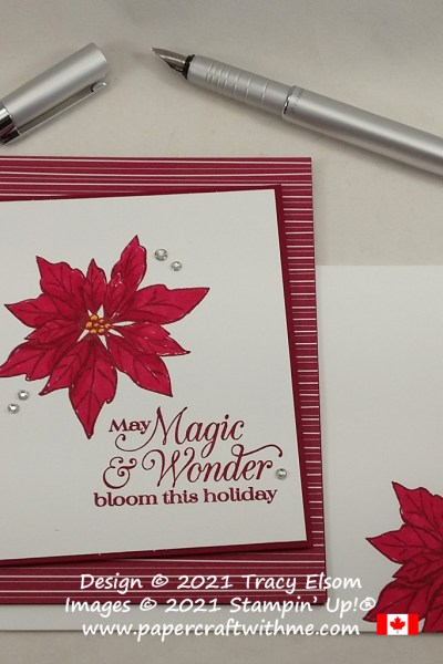 """""""Magic & wonder"""" Christmas card created using the Poinsettia Petals Stamp Set from Stampin' Up! #simplestamping #papercraftwithme"""