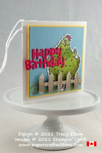 """""""Happy birthday"""" gift tag created using the Hey Birthday Chick Stamp Set and Birthday Chick Dies from Stampin' Up! #papercraftwithme"""