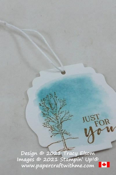 """Quick winter scene """"just for you"""" gift tag created using the Nature's Beauty and Sweet Strawberry Stamp Sets from Stampin' Up! #papercraftwithme"""