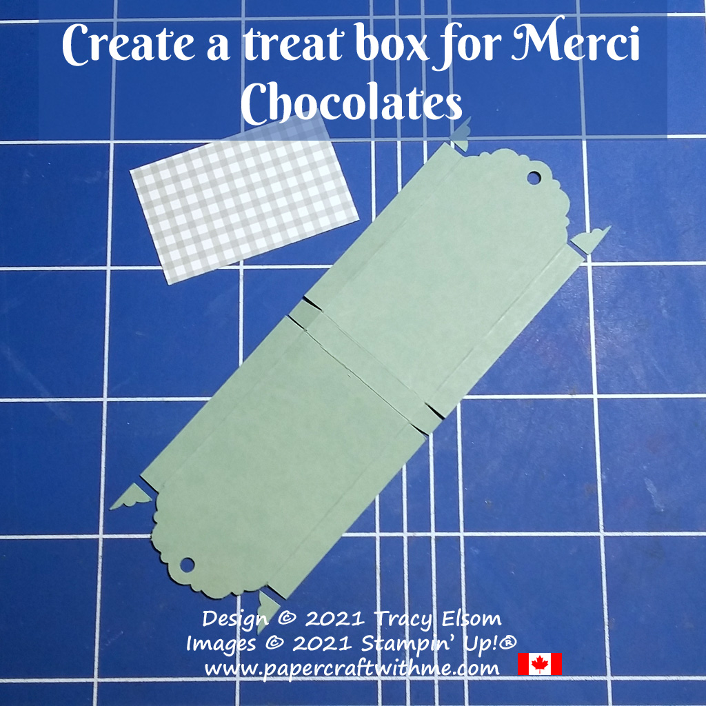 How to create a treat box for 2 sticks of Merci chocolate using Delightful Tag Topper Punch from Stampin' Up! #papercraftwithme