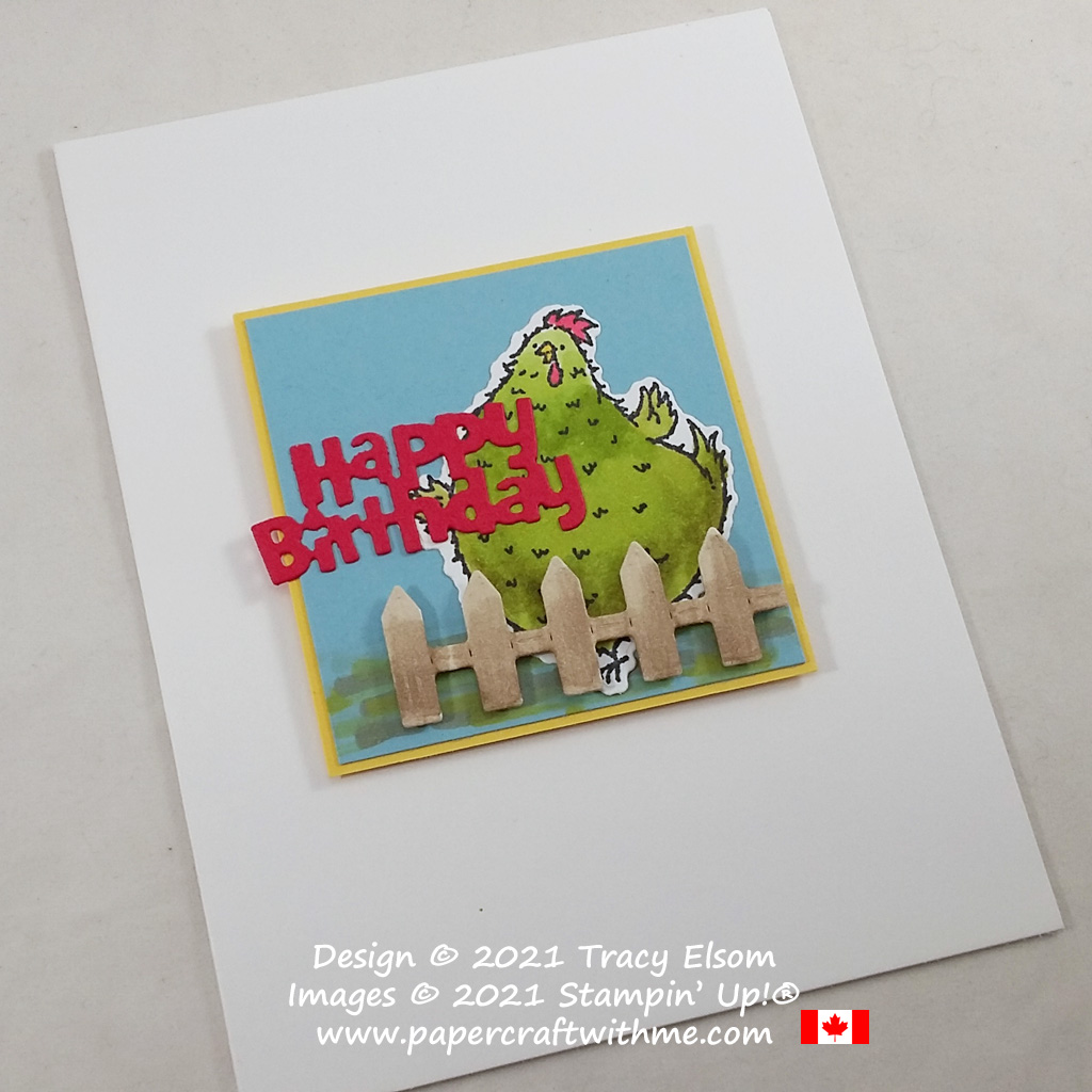 """""""Happy birthday"""" card front created using the Hey Birthday Chick Stamp Set and Birthday Chick Dies from Stampin' Up! #papercraftwithme"""