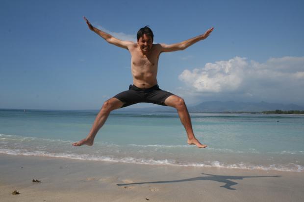 Justin Jumping on Gili Air