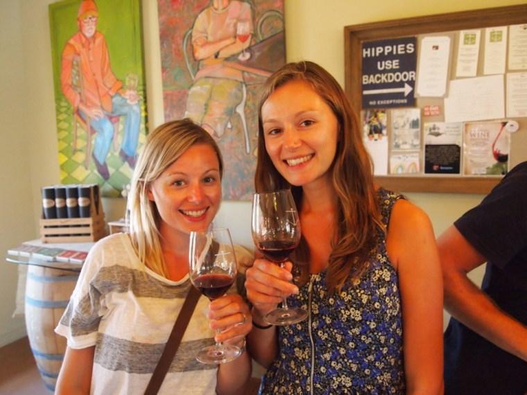 Drinking WIne in Santa Barbara Foxens